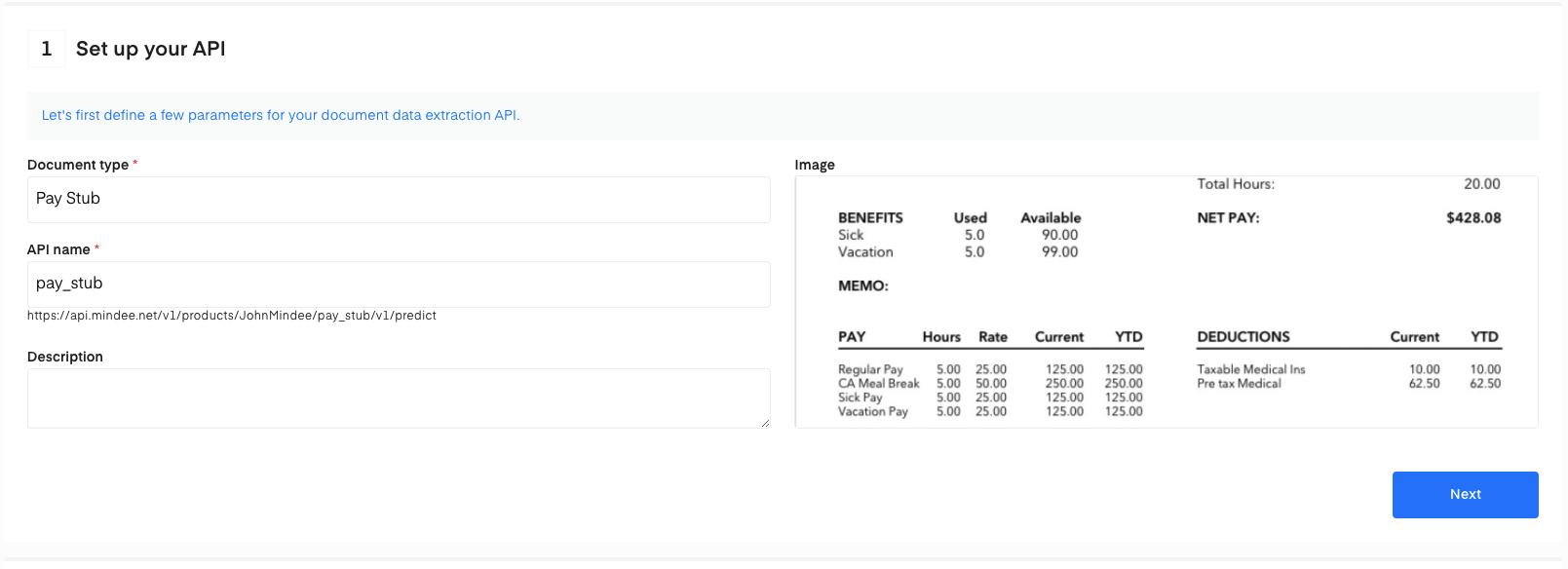 Setup your Pay stub OCR API