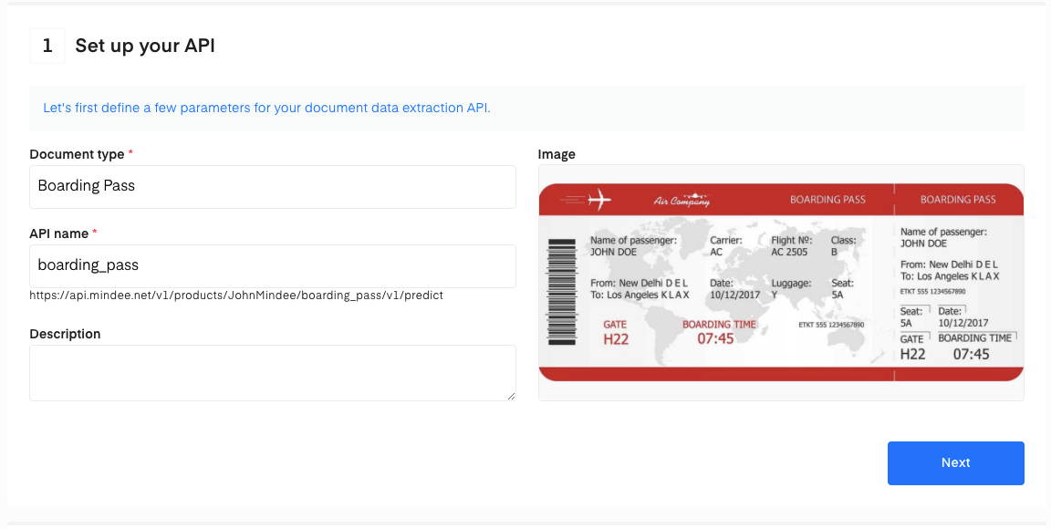 Set up your Boarding Pass OCR API