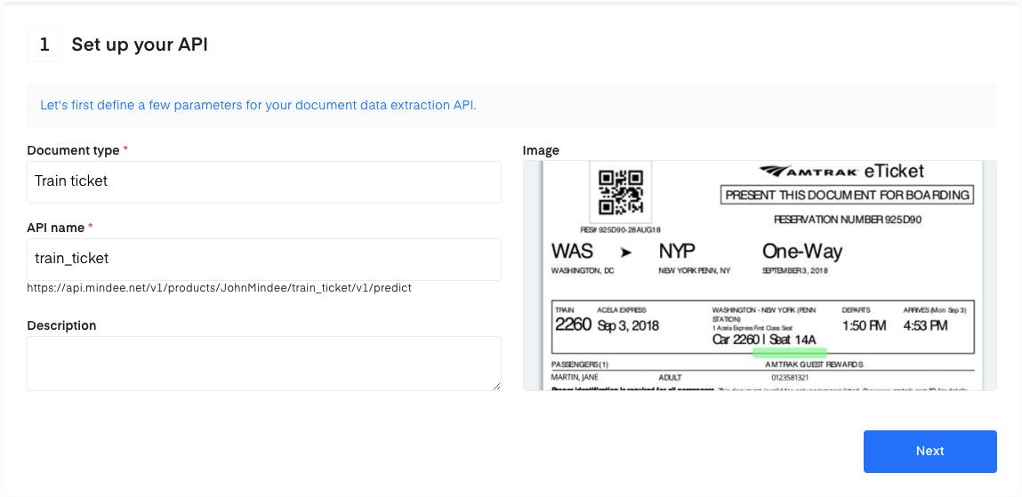 Set up your Train Ticket OCR API