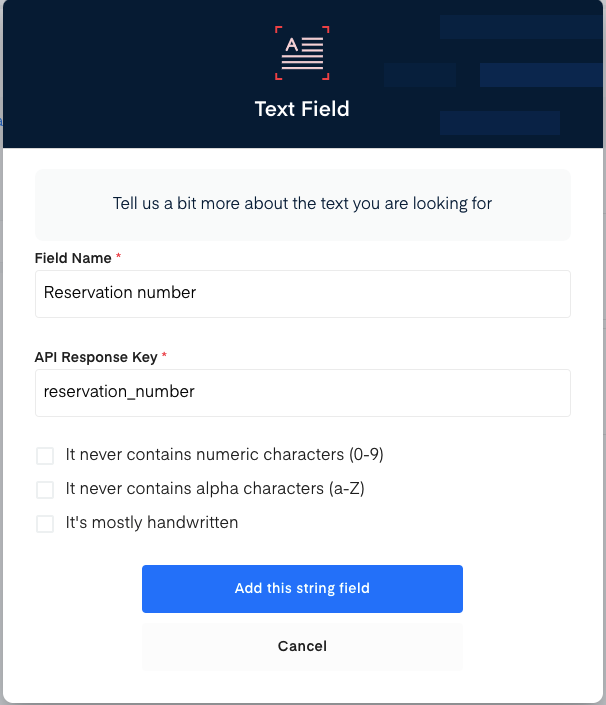 Reservation number field for train ticket OCR