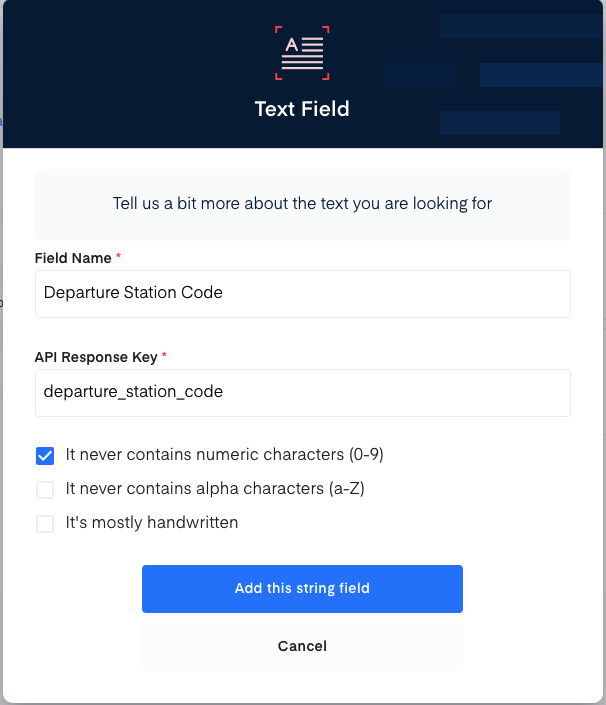 Departure station code field for train ticket OCR