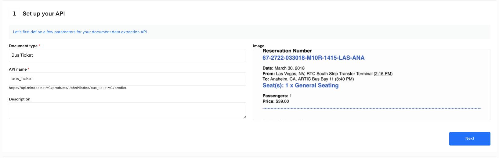 Set up your bus ticket OCR API
