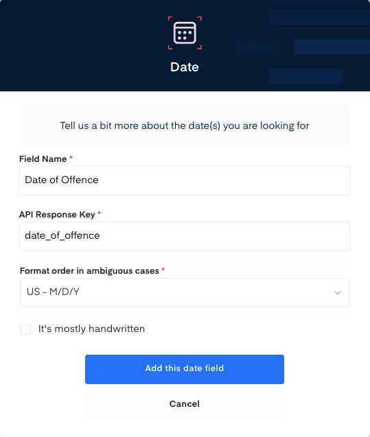 Date field for  Traffic Ticket  OCR