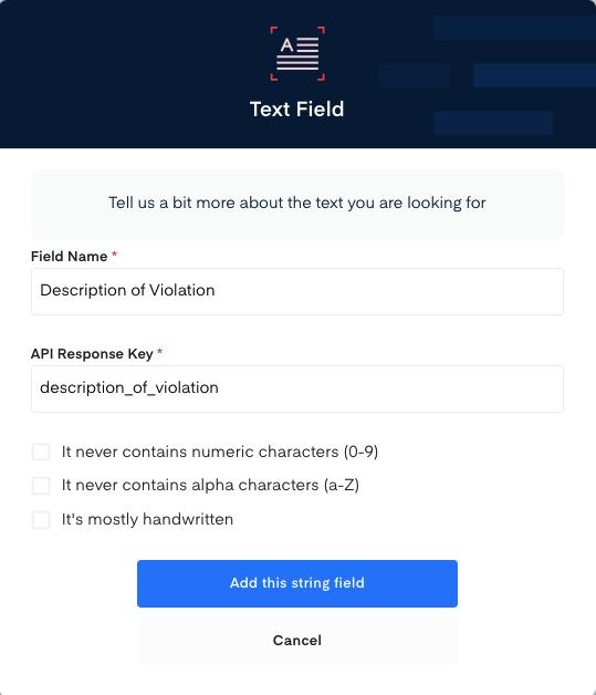 Description field for  Traffic Ticket OCR