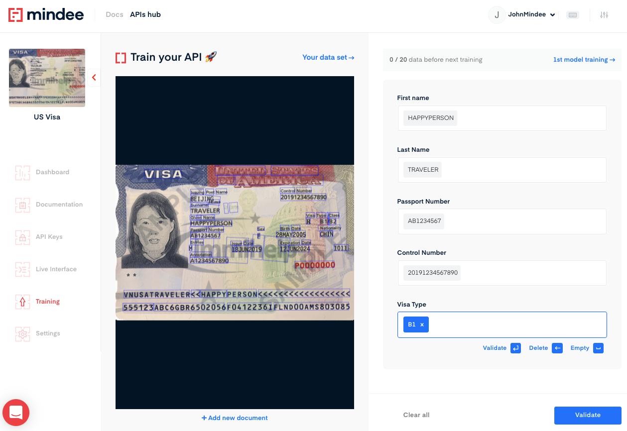 Deep learning US Visa OCR training