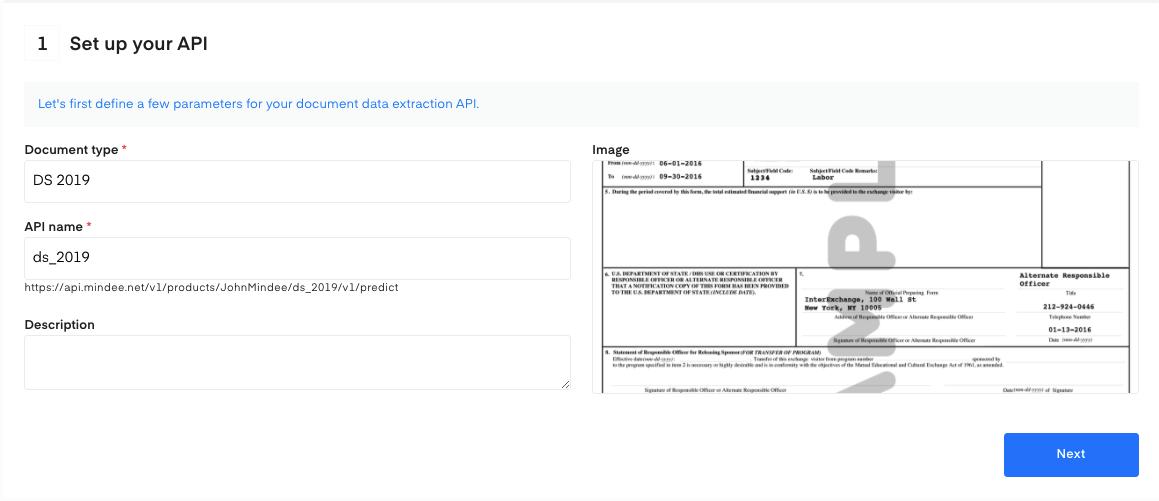 Set up your DS 2019 form OCR API