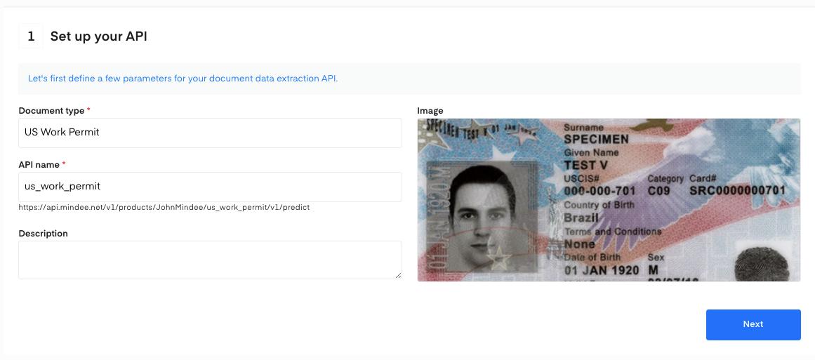 Set up your US Employment Authorization OCR API