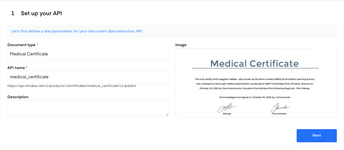 Set up your Medical Certificate OCR API