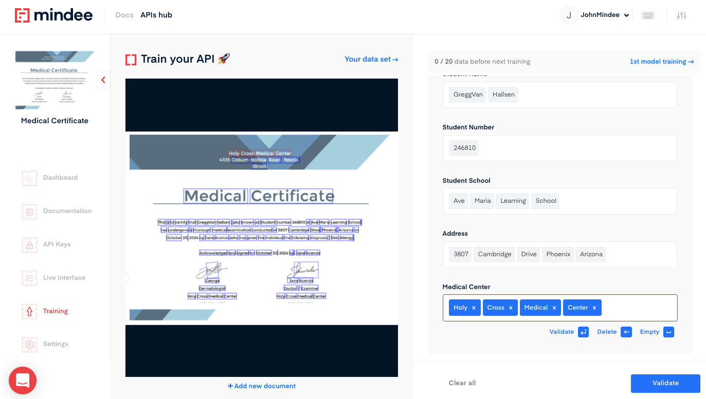 Deep learning Medical Certificate  OCR API