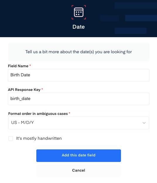 Birth Date field for Birth Certificate OCR