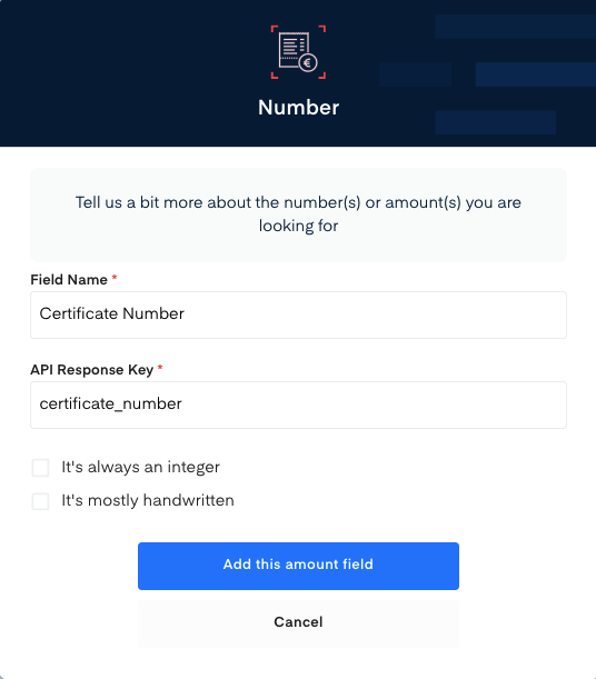 Certificate Number field for Birth Certificate OCR