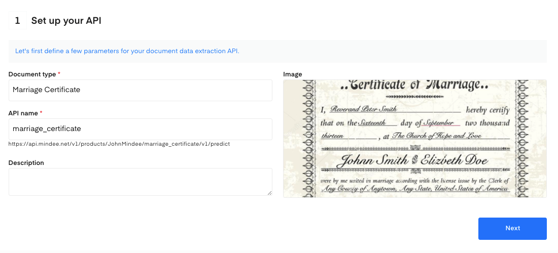 Set up your Marriage Certificate OCR API