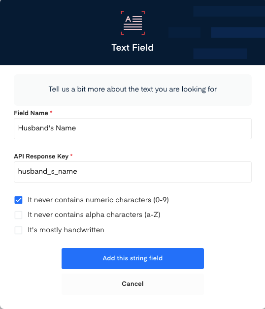 Account Number field for Electricity Bill OCR