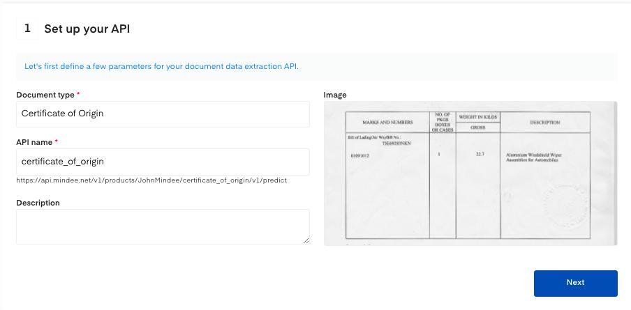 Set up your Certificate of Origin OCR API