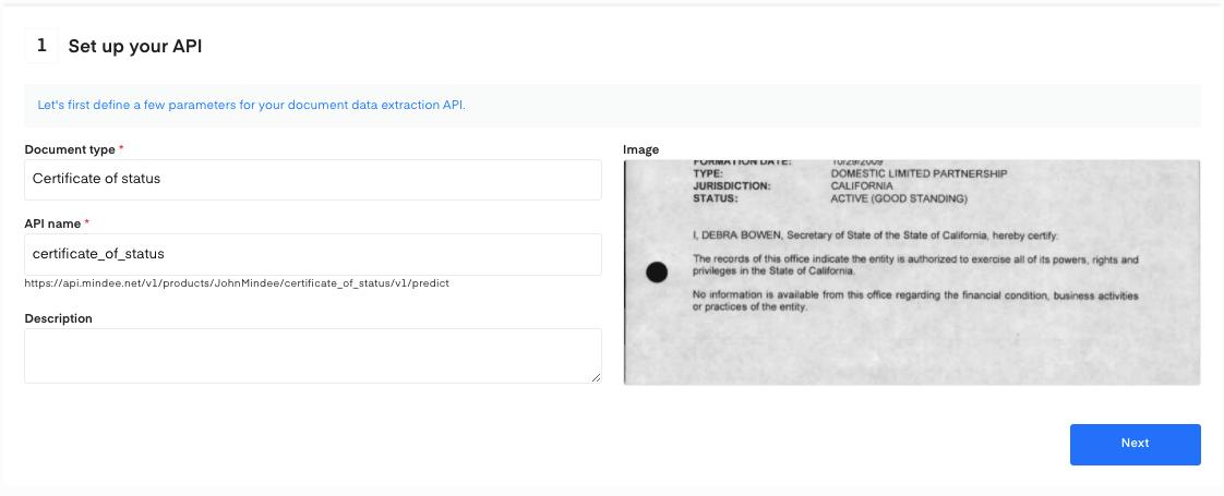 Set up your  Certificate of Status OCR API