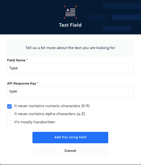 Type field for  Certificate of Status OCR