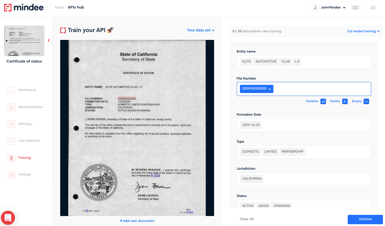 Deep learning Certificate of Status OCR API