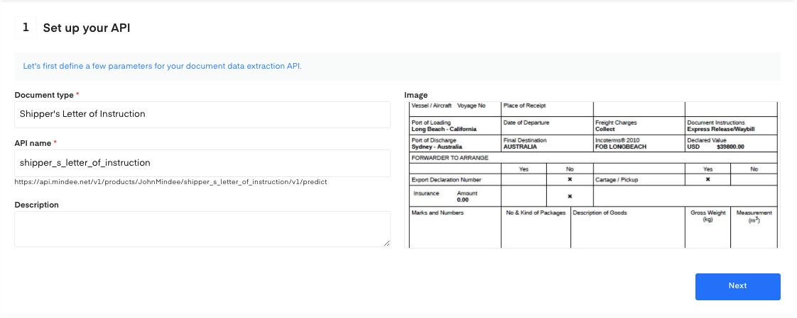 Set up your Shipper's letter of Instruction OCR API
