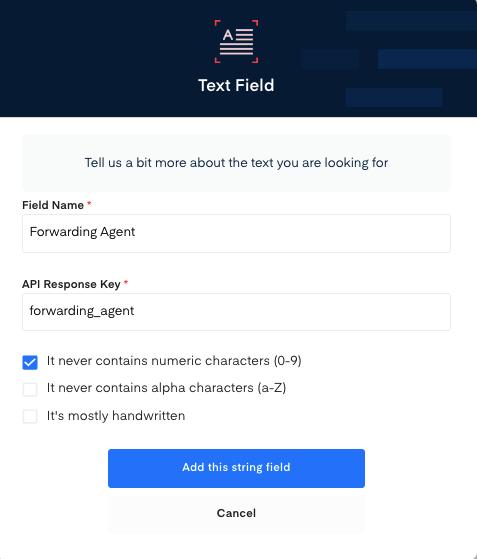 Forwarding Agent field for Shipper's letter of Instruction OCR