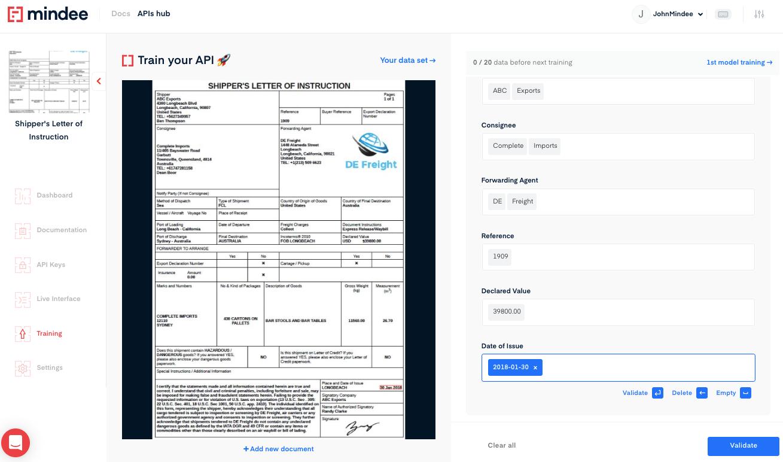 Deep learning Shipper's letter of instruction OCR API