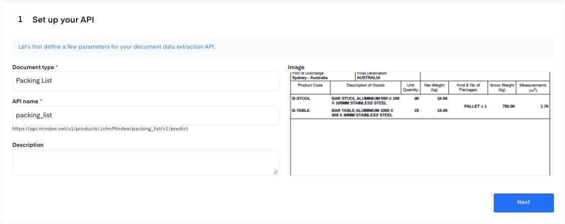 Set up your Packing List OCR API