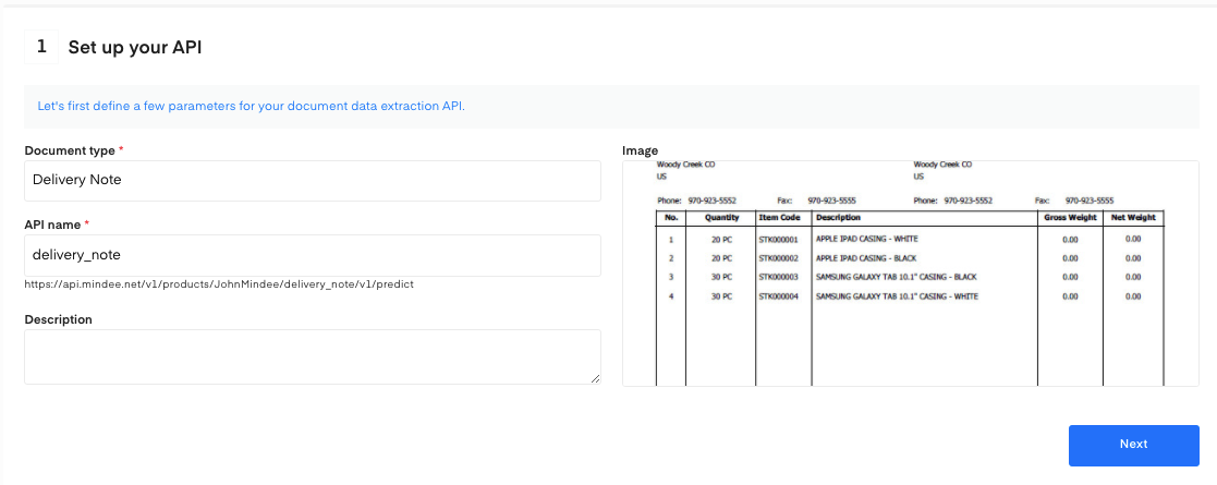 Set up your Delivery Note OCR API