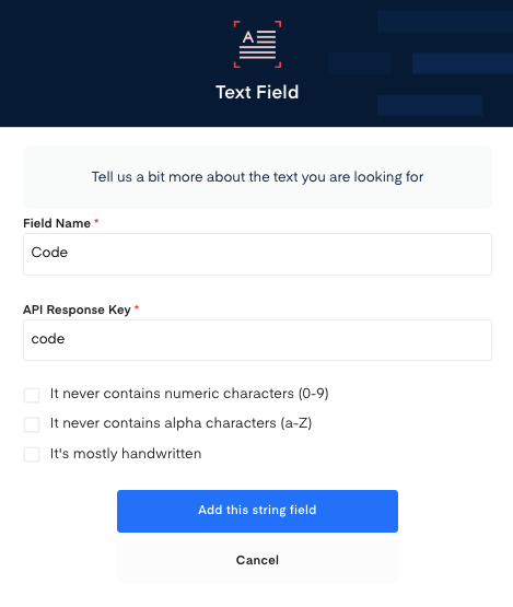 Code field for Delivery Note  OCR