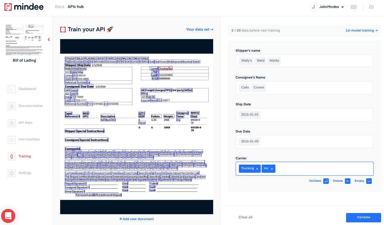 Deep learning Bill of Lading OCR API