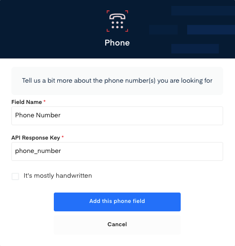 Phone Number field for Electricity Bill OCR