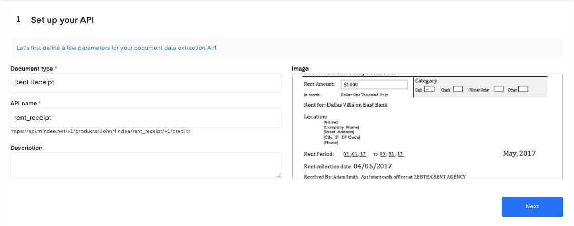 Set up your Rent Receipt OCR API