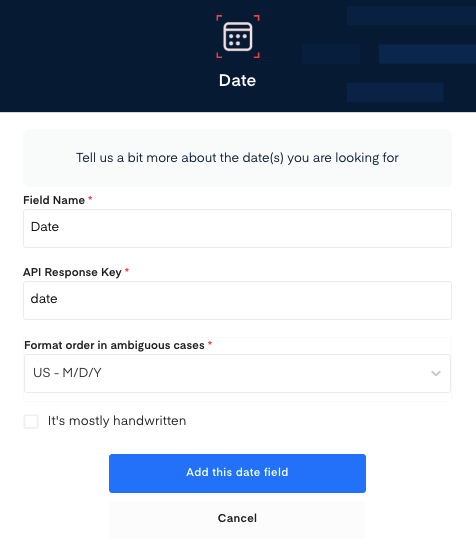 Date field for Rent Receipt OCR