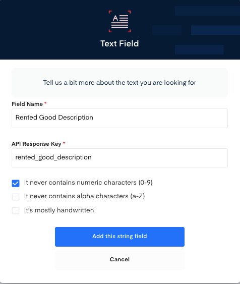 Rented good description field for Rent Receipt OCR