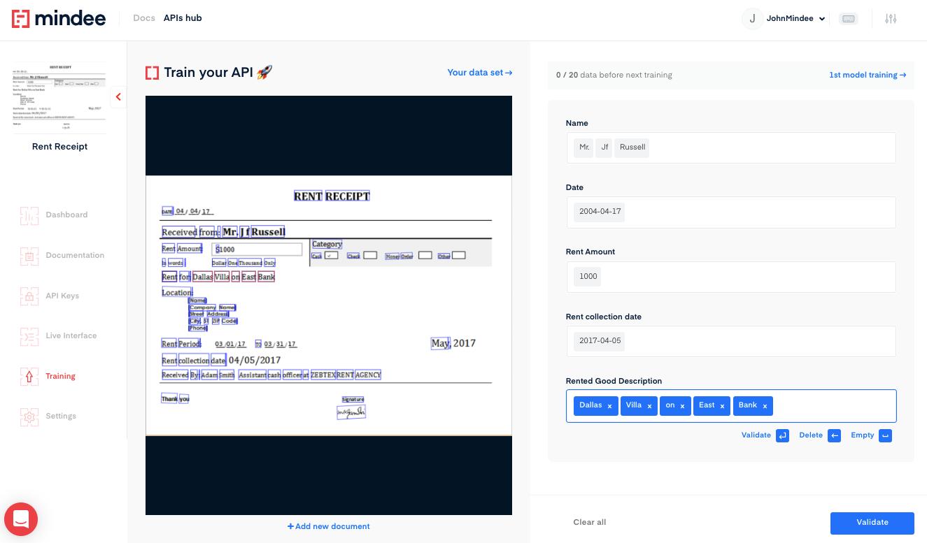 Deep learning Rent Receipt OCR API
