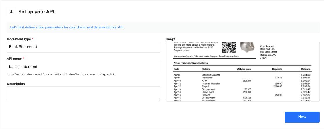 Set up your Bank Statement OCR API