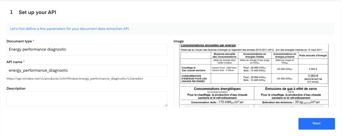 Setup your energy performance diagnostic OCR API