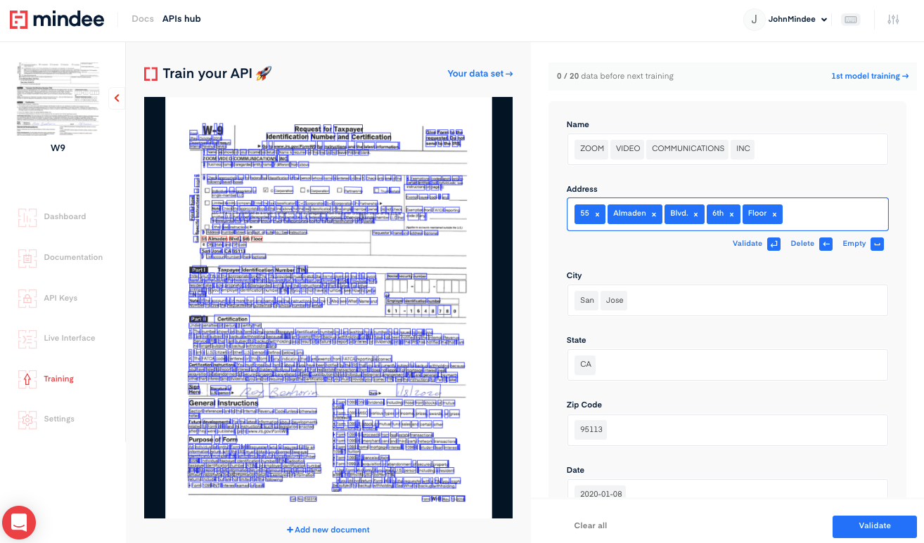 Deep learning W9 OCR API